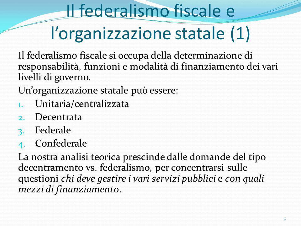 Il federalismo fiscale e l'organizzazione statale (1)