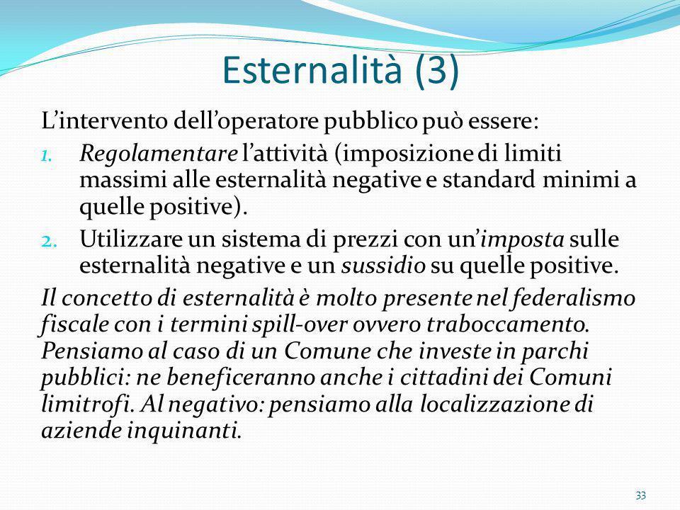 Esternalità (3) L'intervento dell'operatore pubblico può essere: