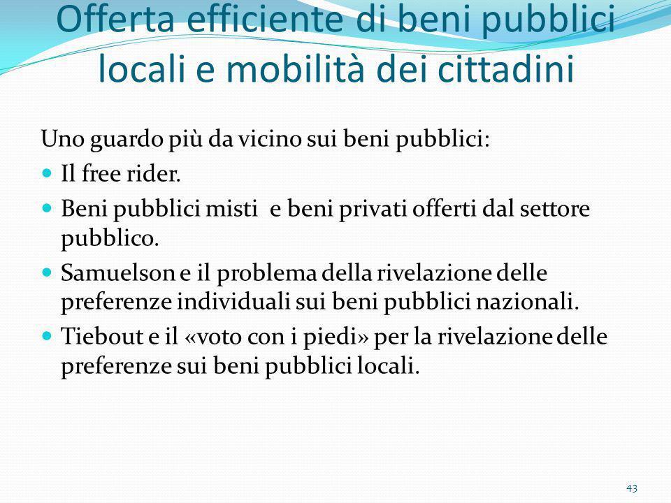 Offerta efficiente di beni pubblici locali e mobilità dei cittadini