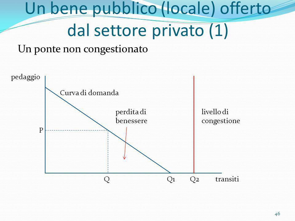 Un bene pubblico (locale) offerto dal settore privato (1)