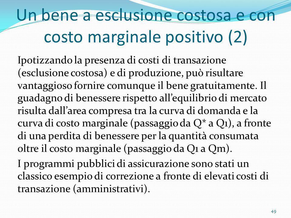 Un bene a esclusione costosa e con costo marginale positivo (2)