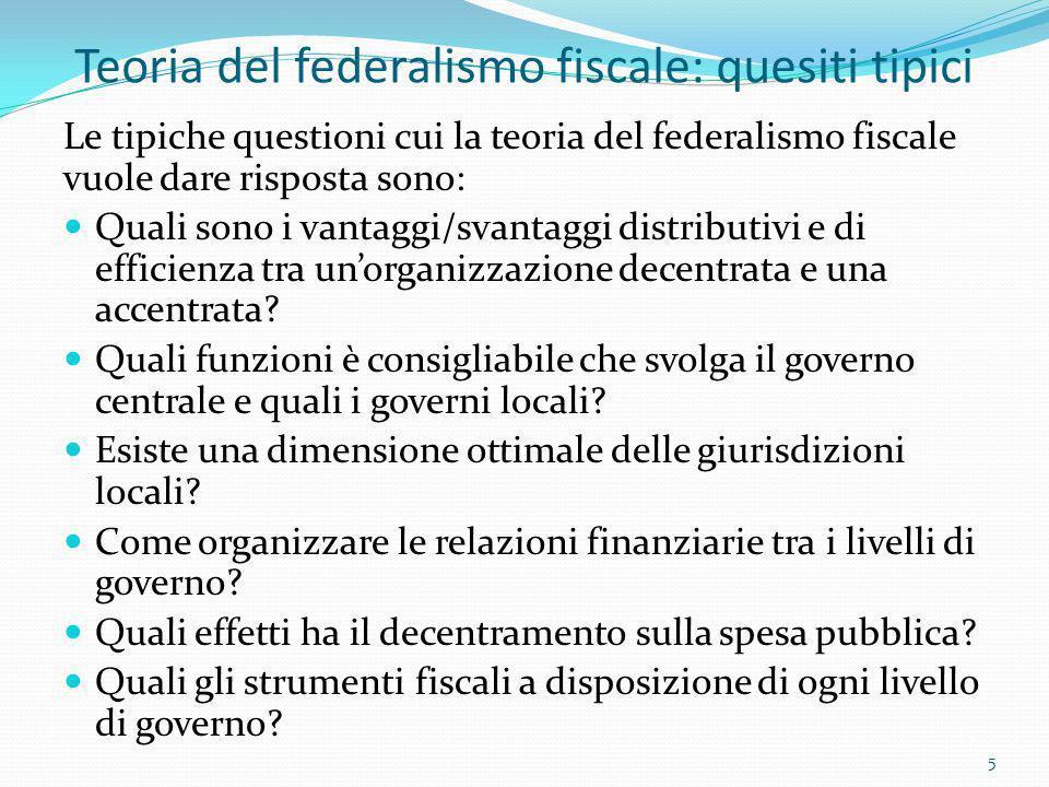 Teoria del federalismo fiscale: quesiti tipici