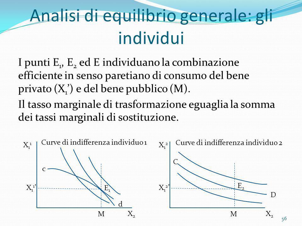 Analisi di equilibrio generale: gli individui