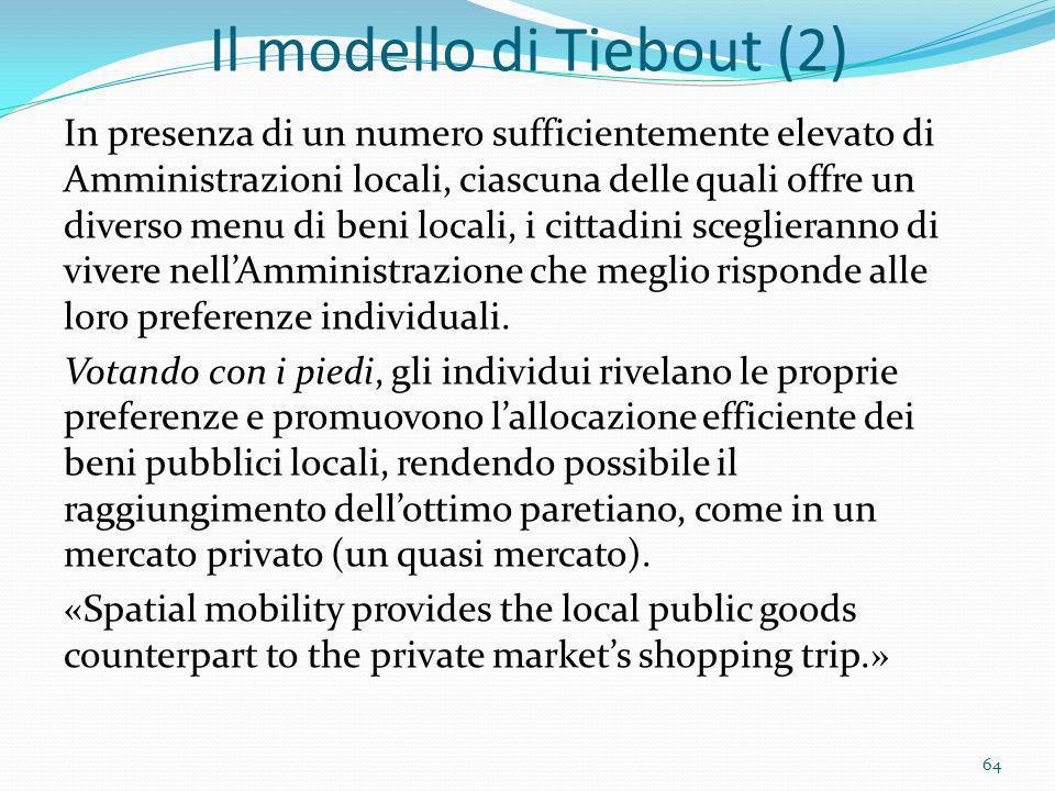 Il modello di Tiebout (2)