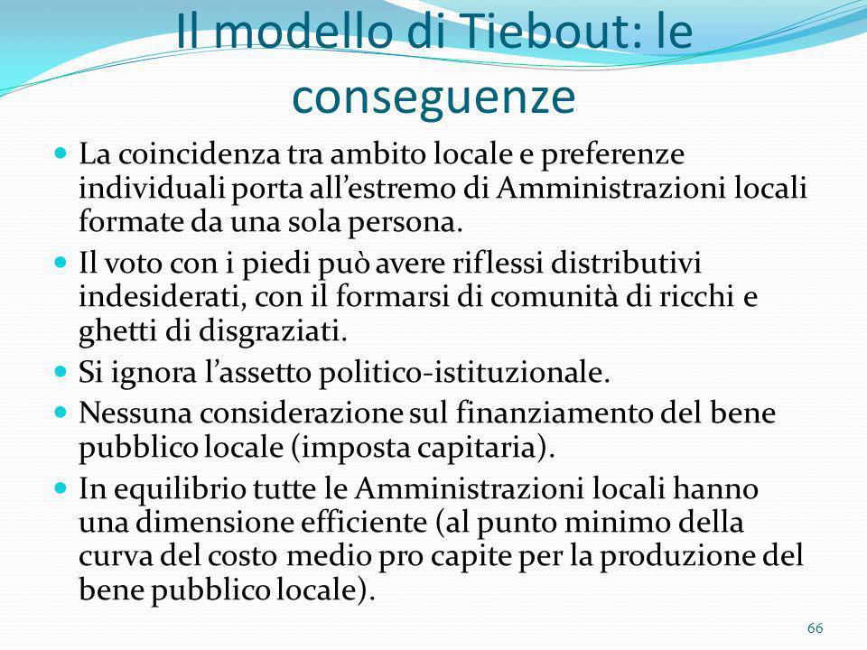 Il modello di Tiebout: le conseguenze
