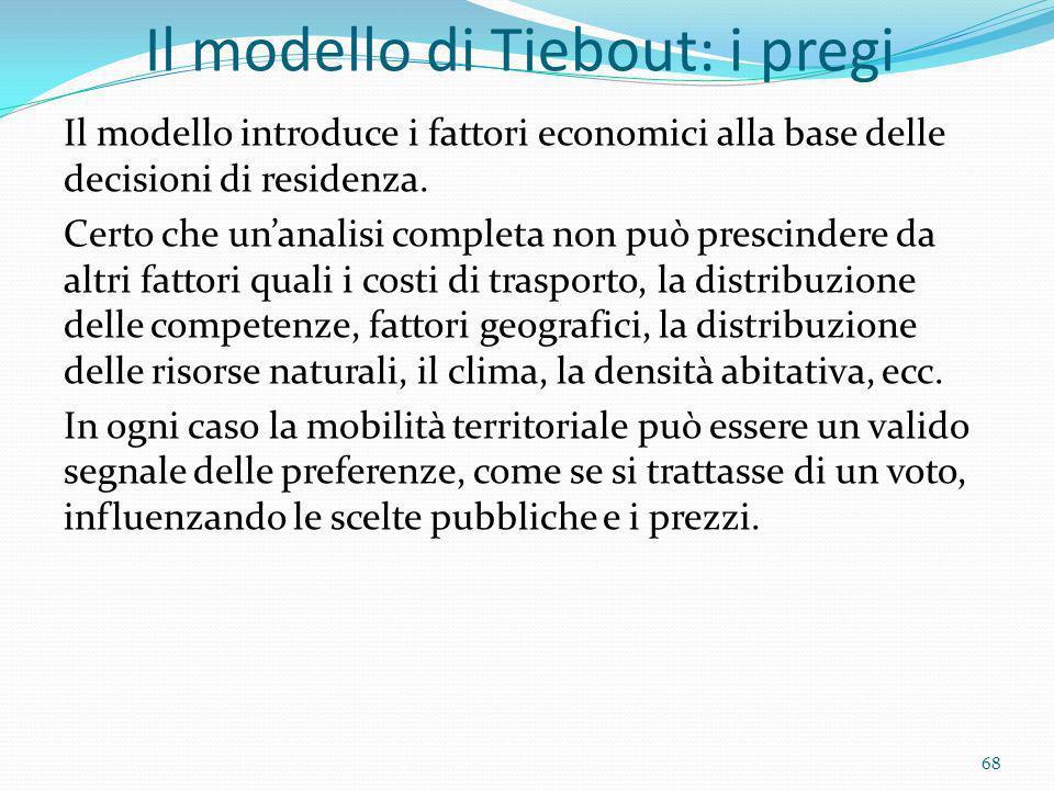 Il modello di Tiebout: i pregi