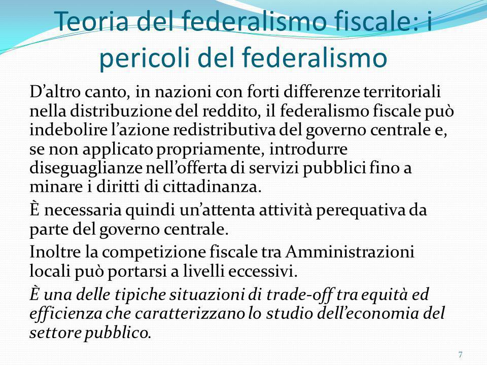 Teoria del federalismo fiscale: i pericoli del federalismo