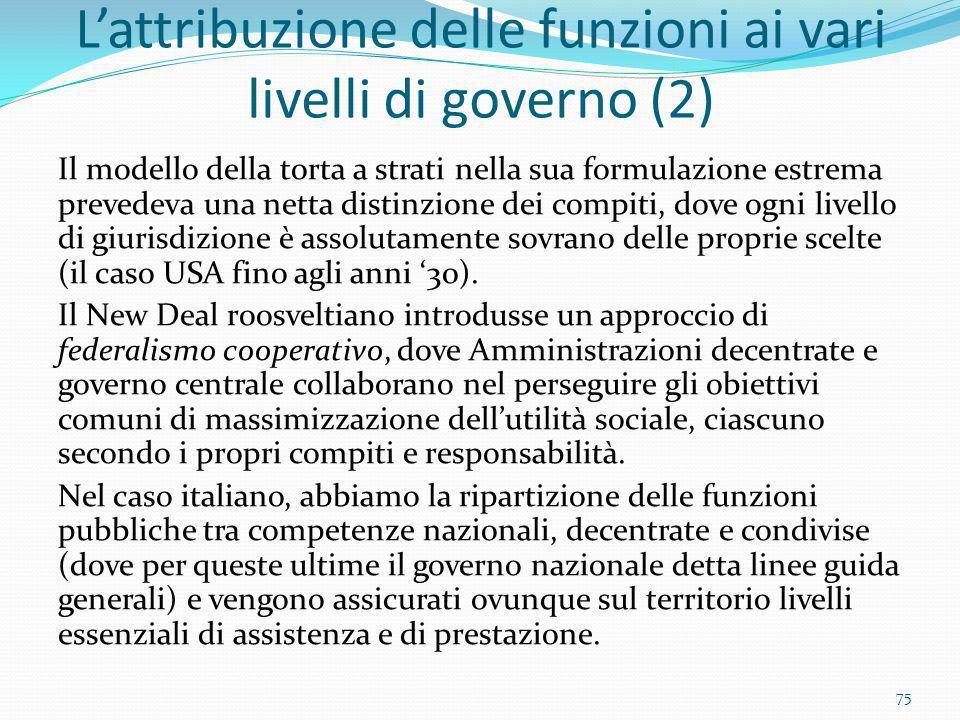 L'attribuzione delle funzioni ai vari livelli di governo (2)