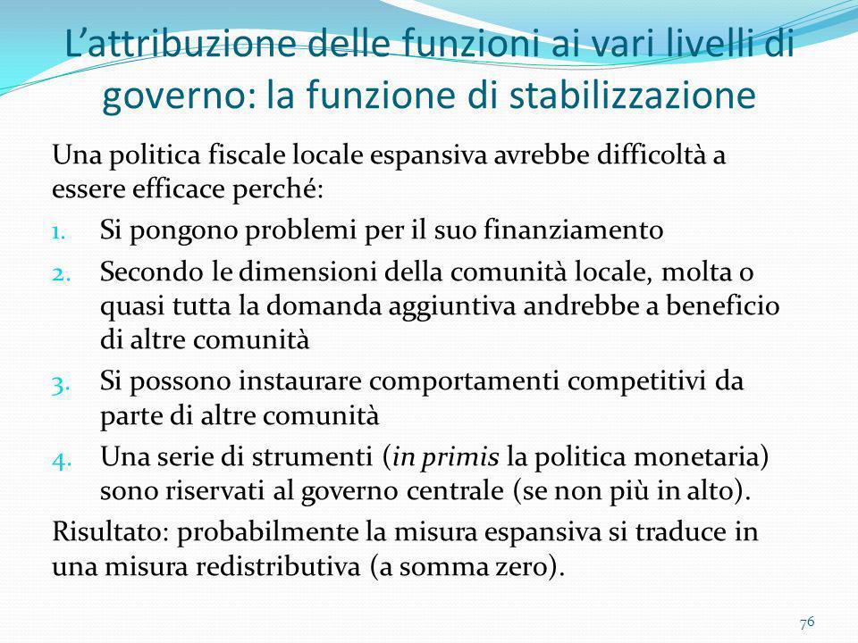 L'attribuzione delle funzioni ai vari livelli di governo: la funzione di stabilizzazione