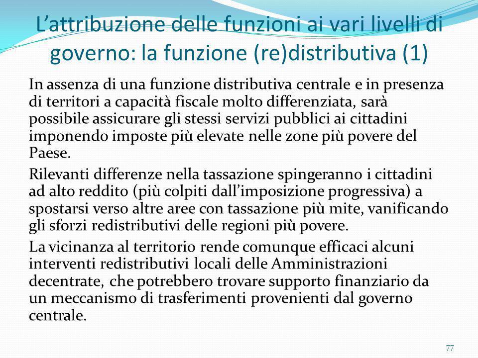 L'attribuzione delle funzioni ai vari livelli di governo: la funzione (re)distributiva (1)