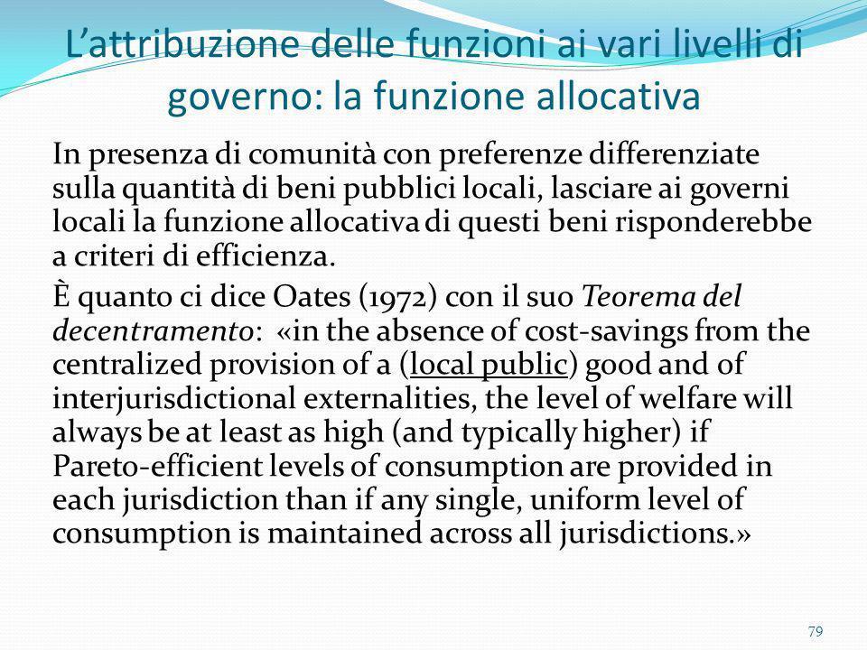 L'attribuzione delle funzioni ai vari livelli di governo: la funzione allocativa
