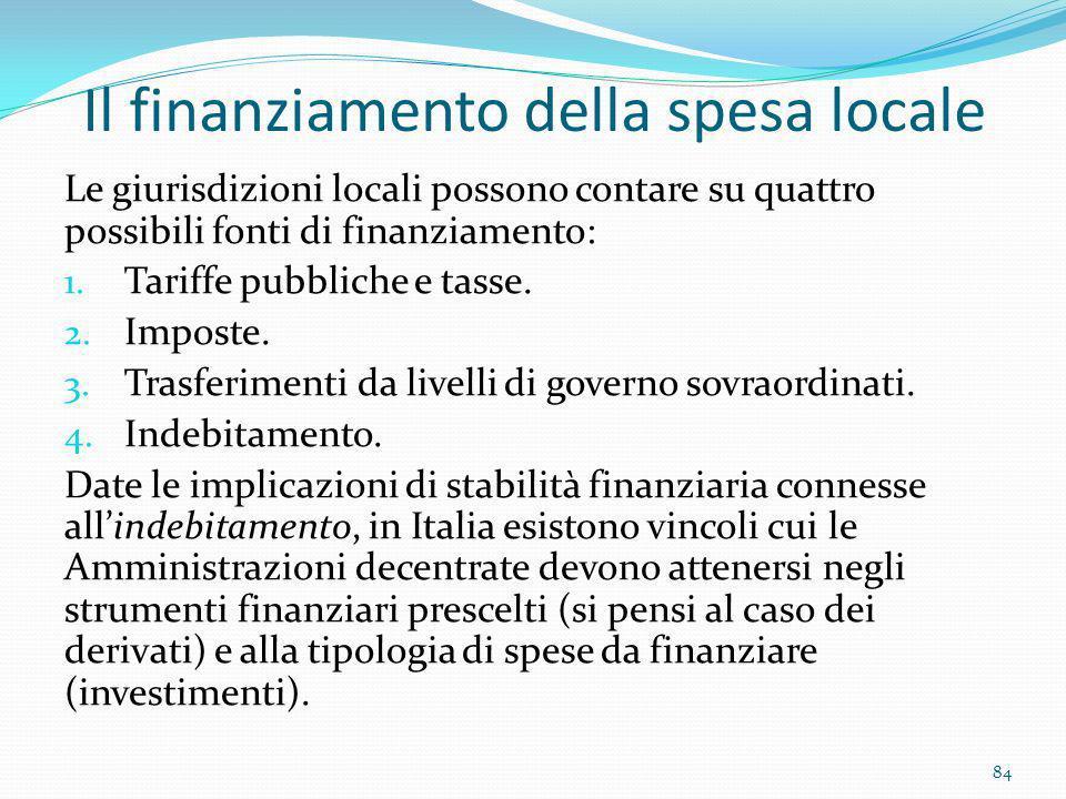 Il finanziamento della spesa locale