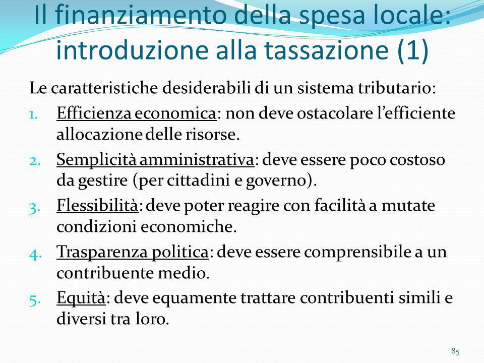 Il finanziamento della spesa locale: introduzione alla tassazione (1)