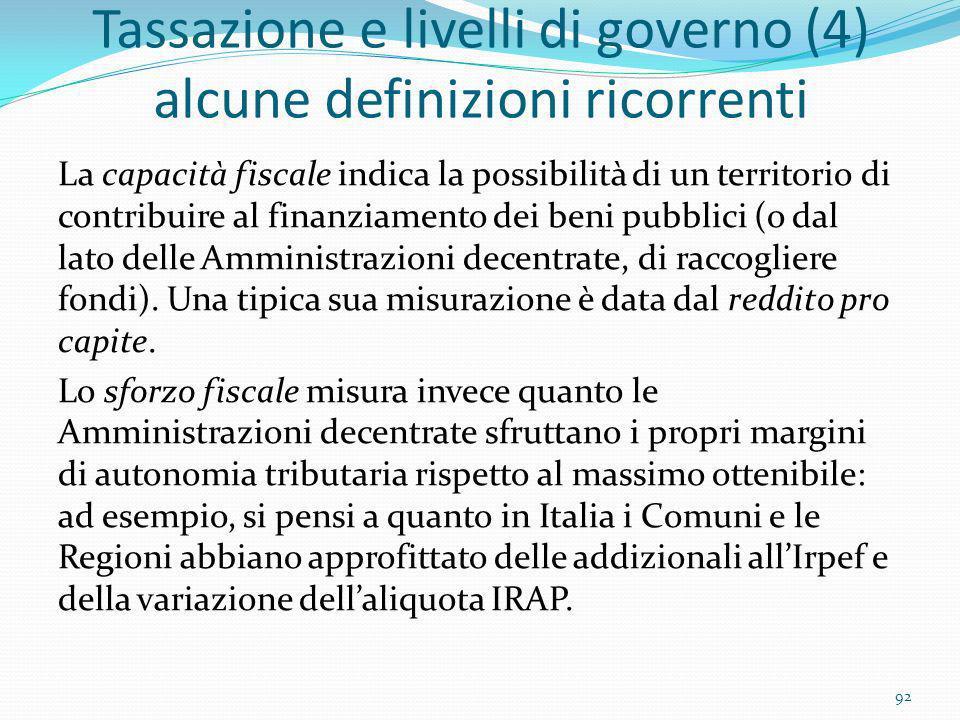 Tassazione e livelli di governo (4) alcune definizioni ricorrenti