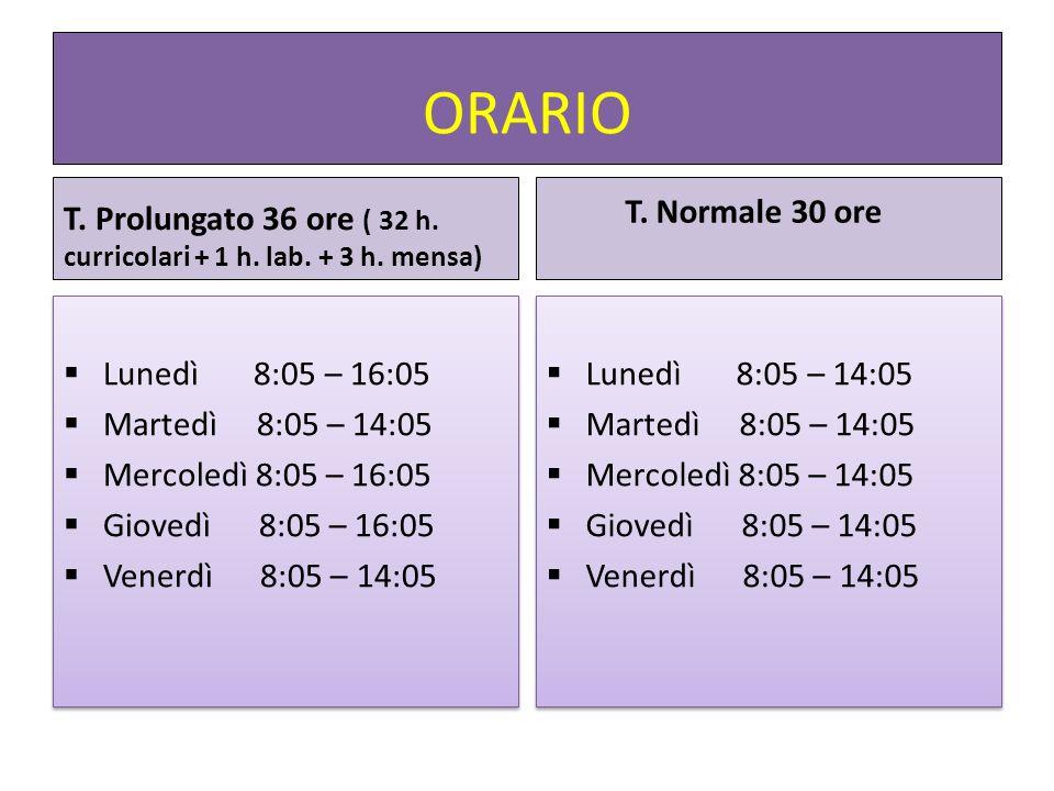 ORARIO T. Prolungato 36 ore ( 32 h. curricolari + 1 h. lab. + 3 h. mensa) T. Normale 30 ore. Lunedì 8:05 – 16:05.