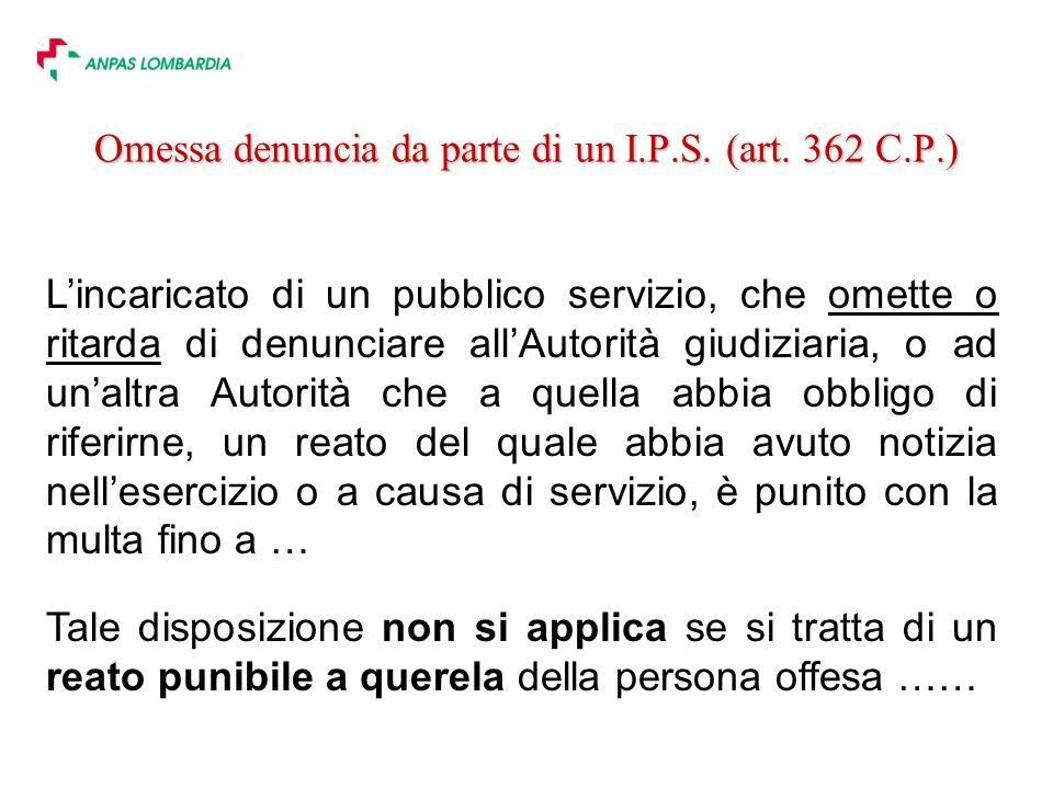 Omessa denuncia da parte di un I.P.S. (art. 362 C.P.)
