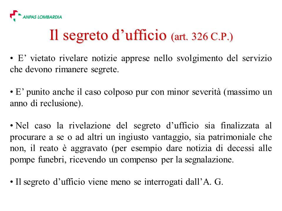Il segreto d'ufficio (art. 326 C.P.)