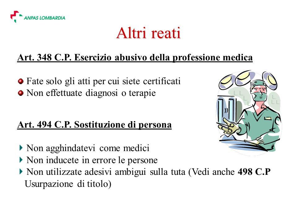 Altri reati Art. 348 C.P. Esercizio abusivo della professione medica