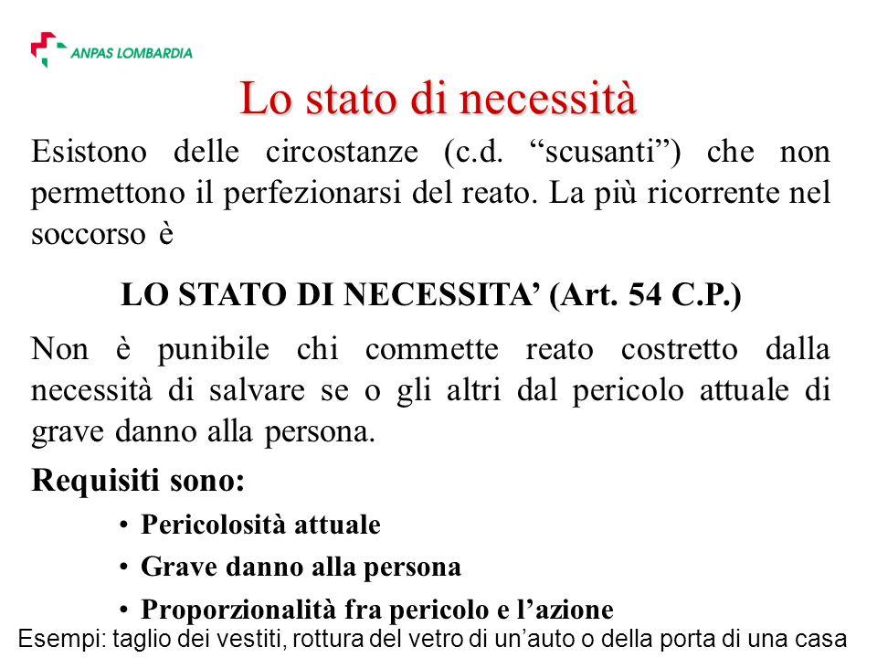 LO STATO DI NECESSITA' (Art. 54 C.P.)
