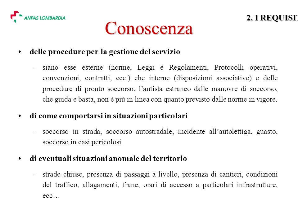 Conoscenza 2. I REQUISITI delle procedure per la gestione del servizio