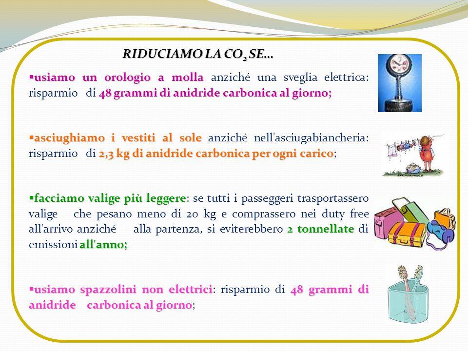 RIDUCIAMO LA CO2 SE… usiamo un orologio a molla anziché una sveglia elettrica: risparmio di 48 grammi di anidride carbonica al giorno;