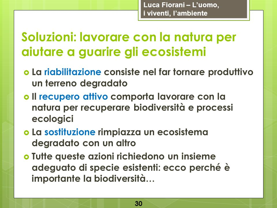 Soluzioni: lavorare con la natura per aiutare a guarire gli ecosistemi