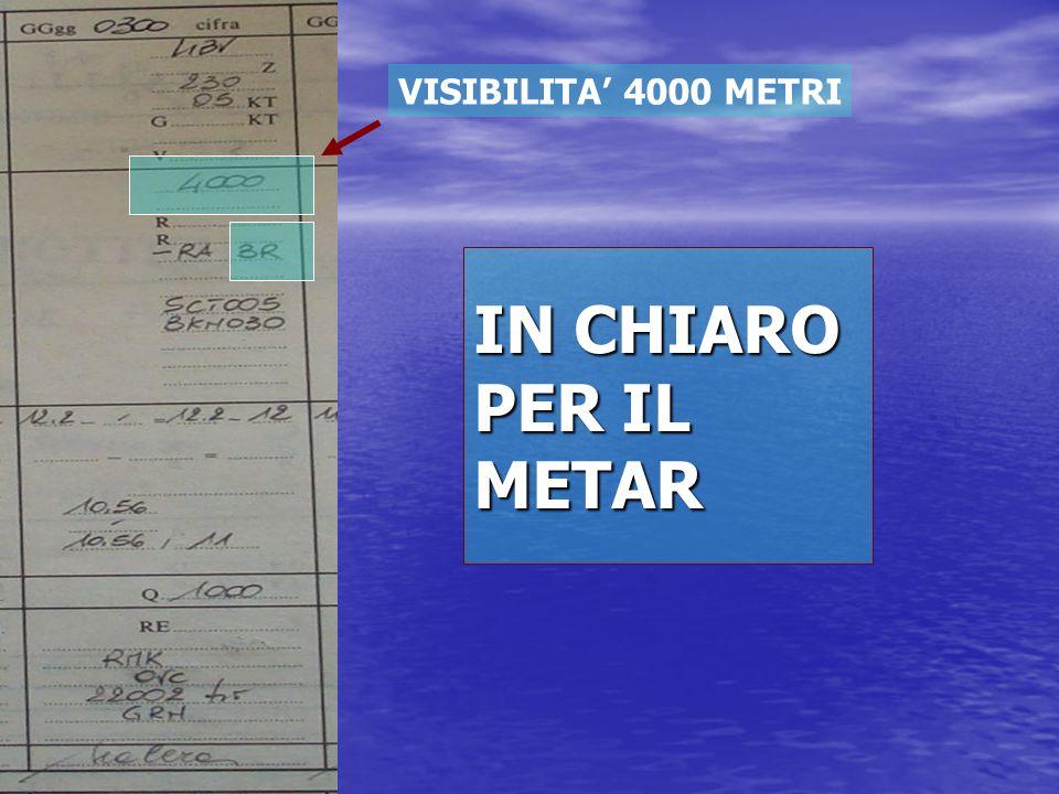 VISIBILITA' 4000 METRI IN CHIARO PER IL METAR