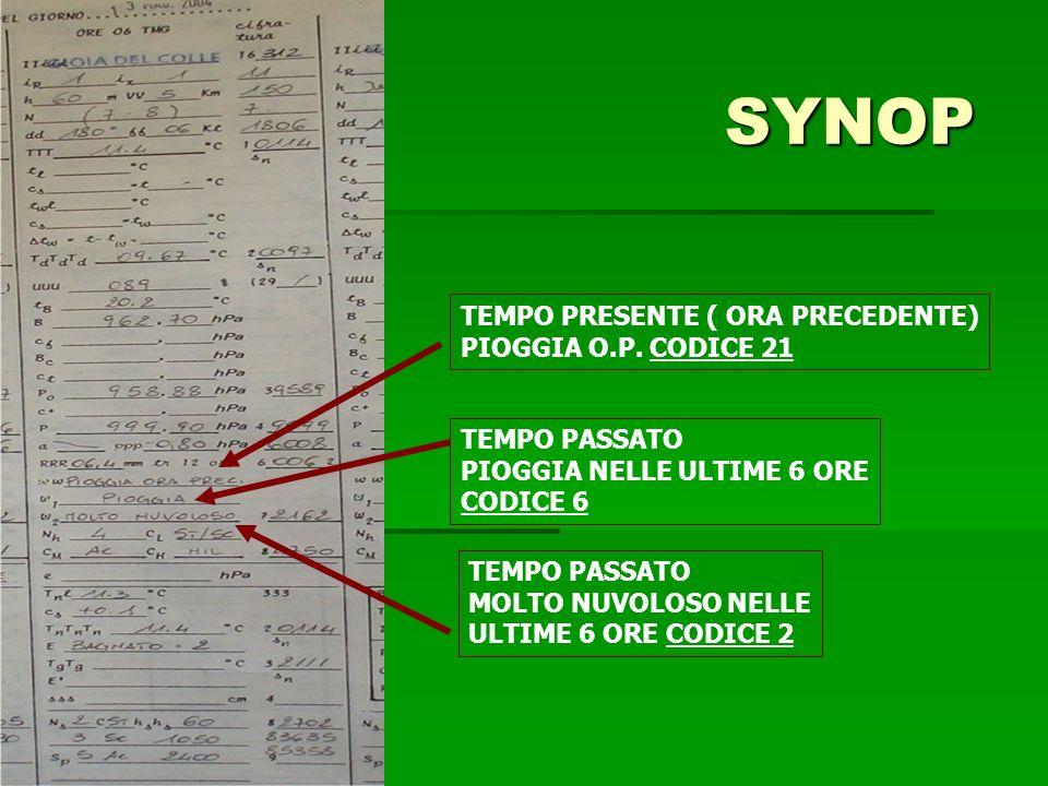SYNOP TEMPO PRESENTE ( ORA PRECEDENTE) PIOGGIA O.P. CODICE 21