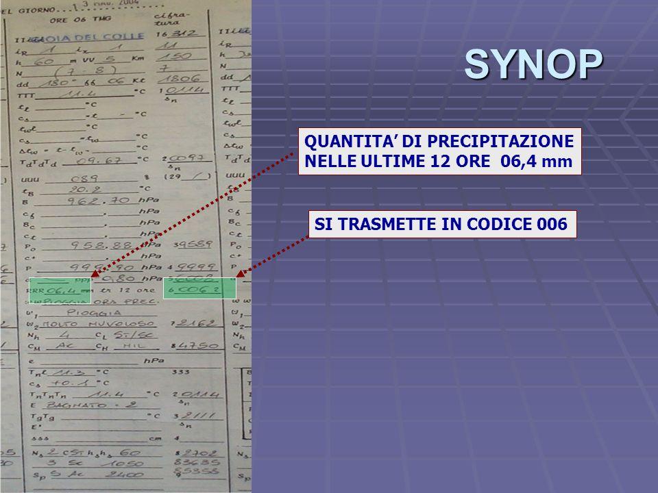 SYNOP QUANTITA' DI PRECIPITAZIONE NELLE ULTIME 12 ORE 06,4 mm