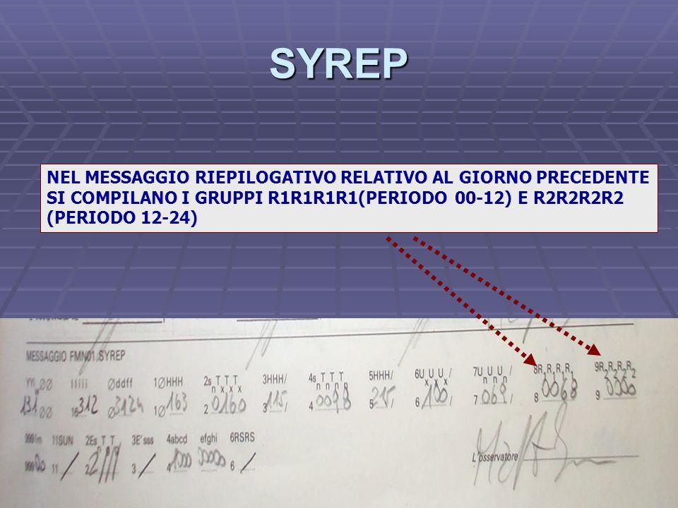 SYREP NEL MESSAGGIO RIEPILOGATIVO RELATIVO AL GIORNO PRECEDENTE