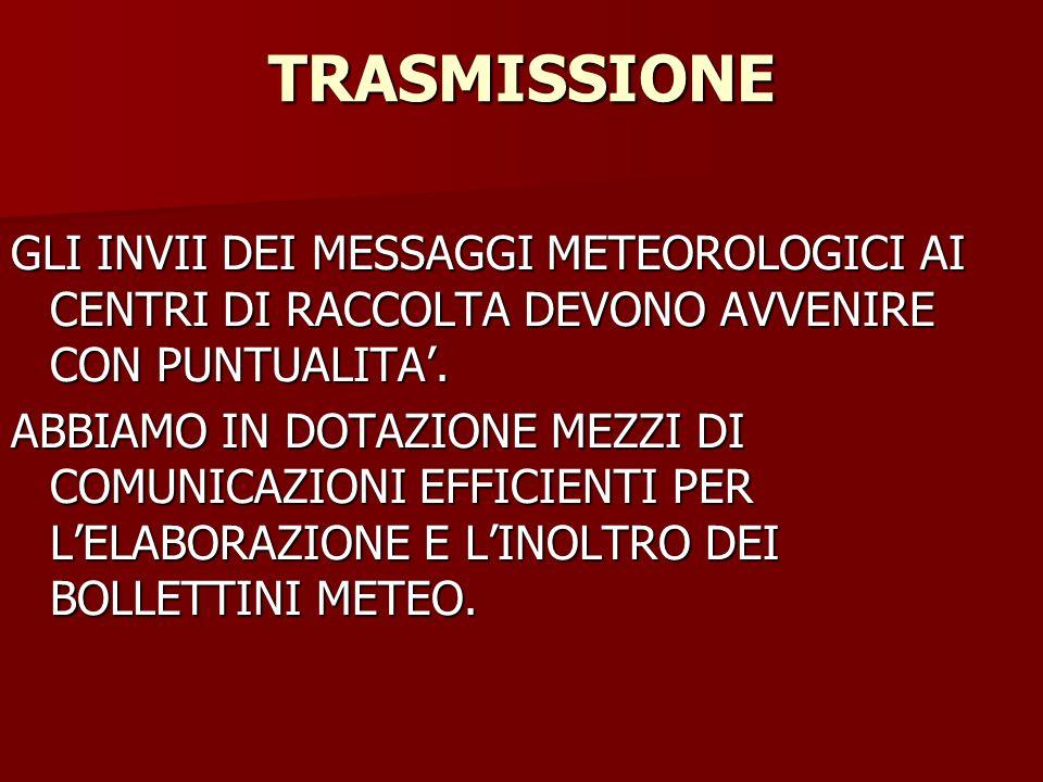 TRASMISSIONE GLI INVII DEI MESSAGGI METEOROLOGICI AI CENTRI DI RACCOLTA DEVONO AVVENIRE CON PUNTUALITA'.