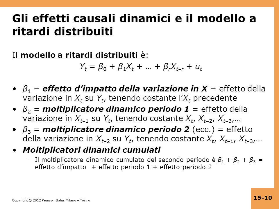 Gli effetti causali dinamici e il modello a ritardi distribuiti