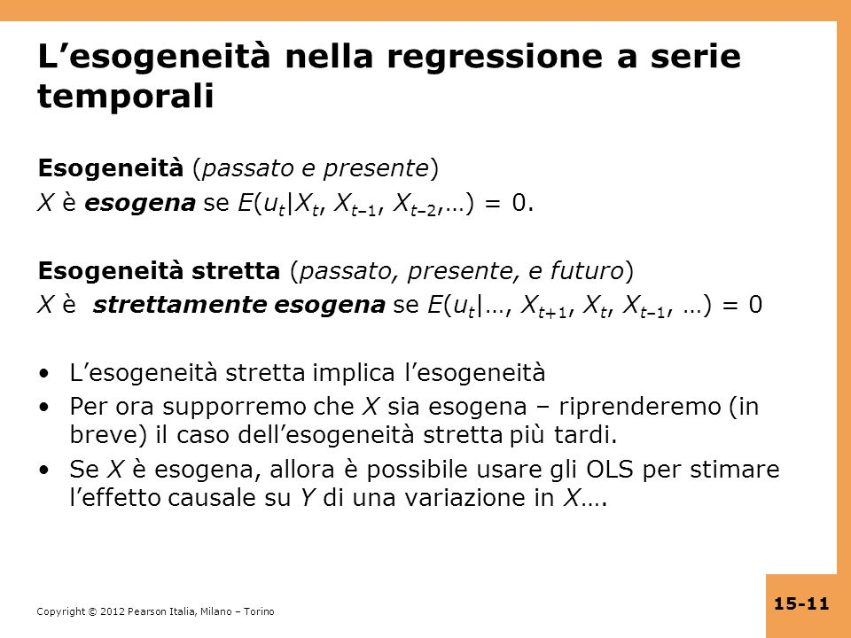 L'esogeneità nella regressione a serie temporali