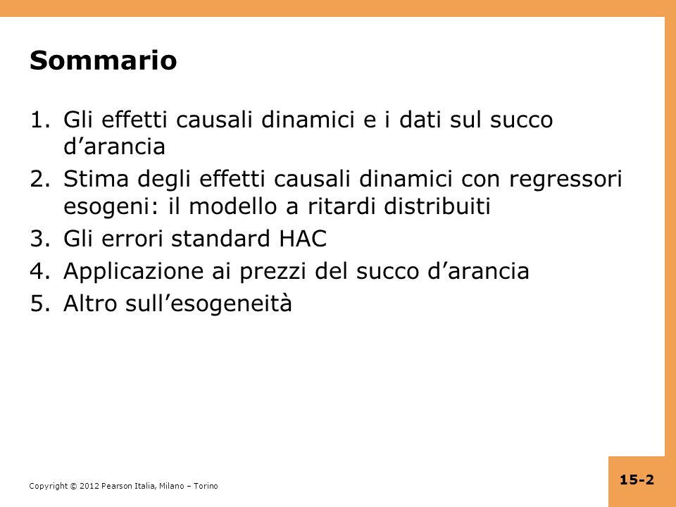 Sommario Gli effetti causali dinamici e i dati sul succo d'arancia