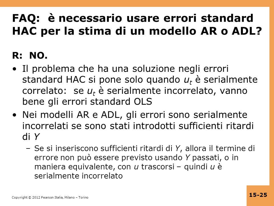 FAQ: è necessario usare errori standard HAC per la stima di un modello AR o ADL