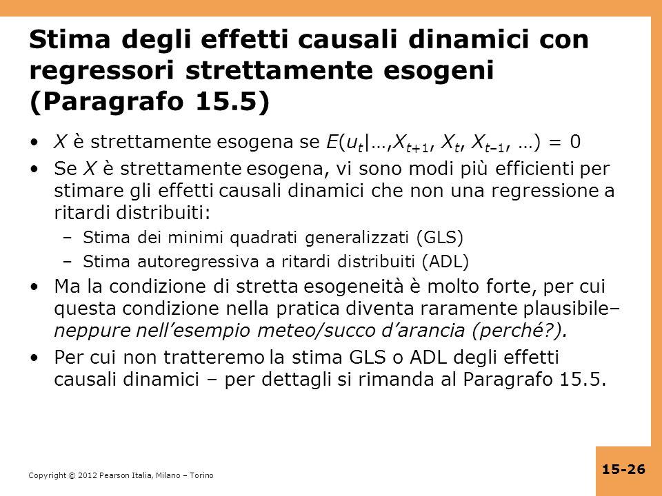 Stima degli effetti causali dinamici con regressori strettamente esogeni (Paragrafo 15.5)