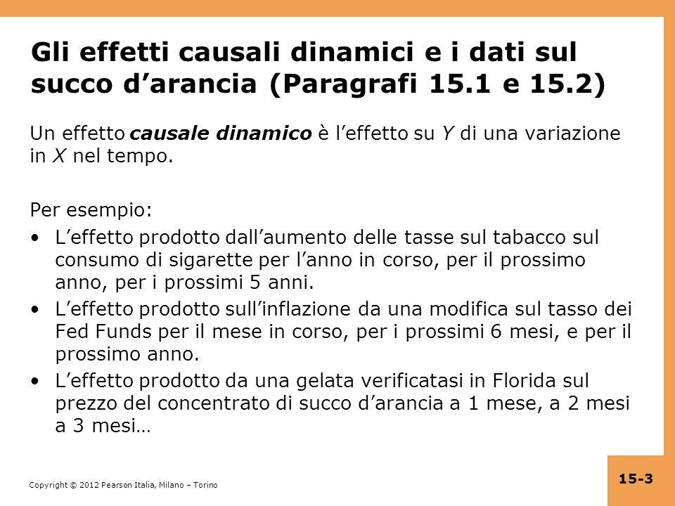 Gli effetti causali dinamici e i dati sul succo d'arancia (Paragrafi 15.1 e 15.2)