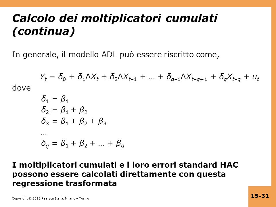 Calcolo dei moltiplicatori cumulati (continua)