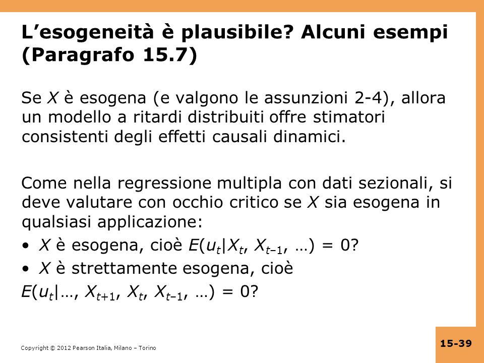 L'esogeneità è plausibile Alcuni esempi (Paragrafo 15.7)