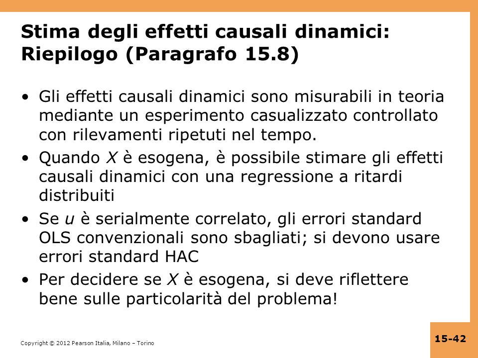 Stima degli effetti causali dinamici: Riepilogo (Paragrafo 15.8)