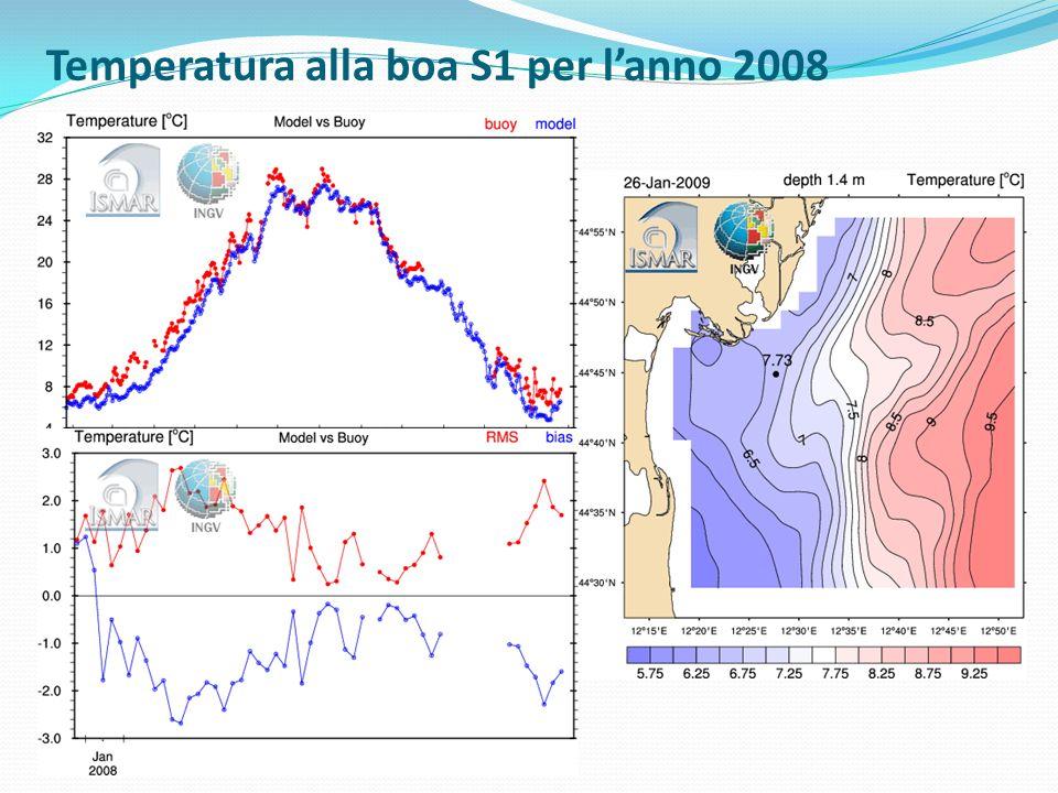 Temperatura alla boa S1 per l'anno 2008