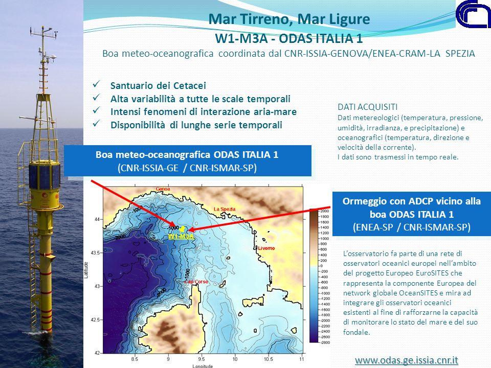 Mar Tirreno, Mar Ligure W1-M3A - ODAS ITALIA 1 Boa meteo-oceanografica coordinata dal CNR-ISSIA-GENOVA/ENEA-CRAM-LA SPEZIA