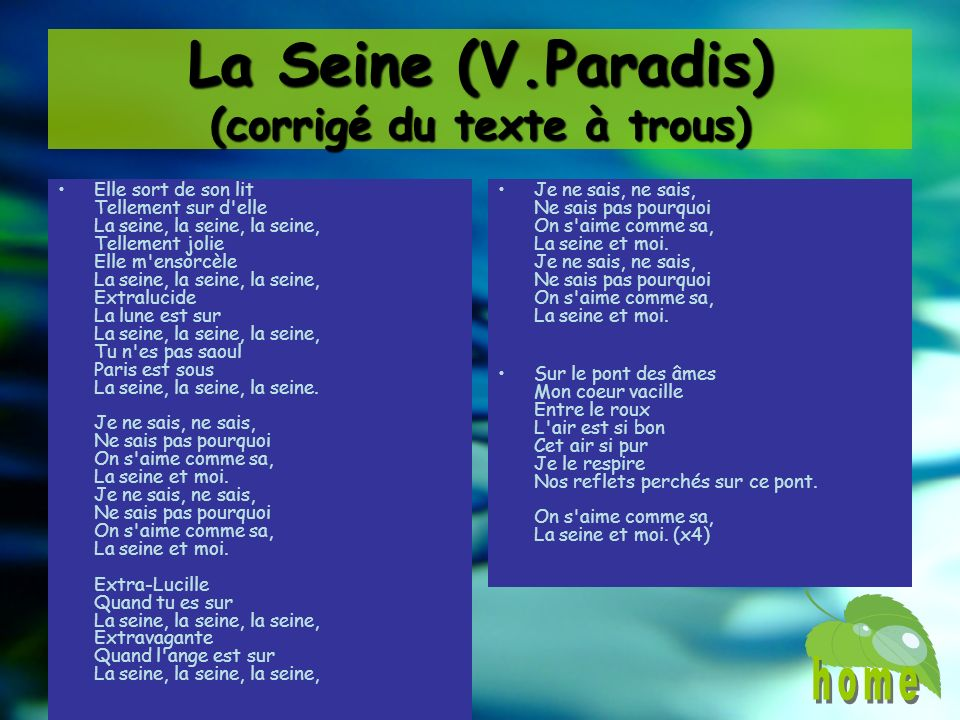La Seine (V.Paradis) (corrigé du texte à trous)