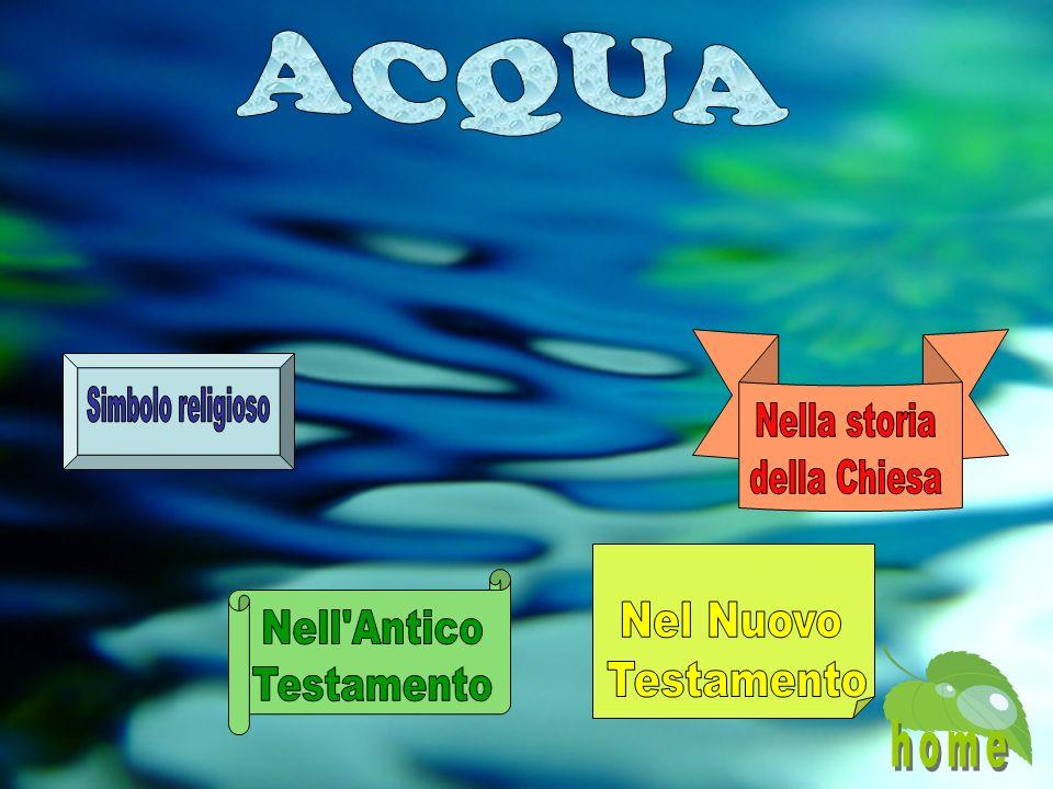 ACQUA Nella storia della Chiesa Simbolo religioso Nel Nuovo Testamento Nell Antico Testamento home