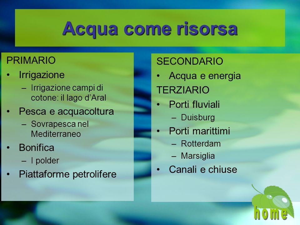 Acqua come risorsa home PRIMARIO SECONDARIO Irrigazione
