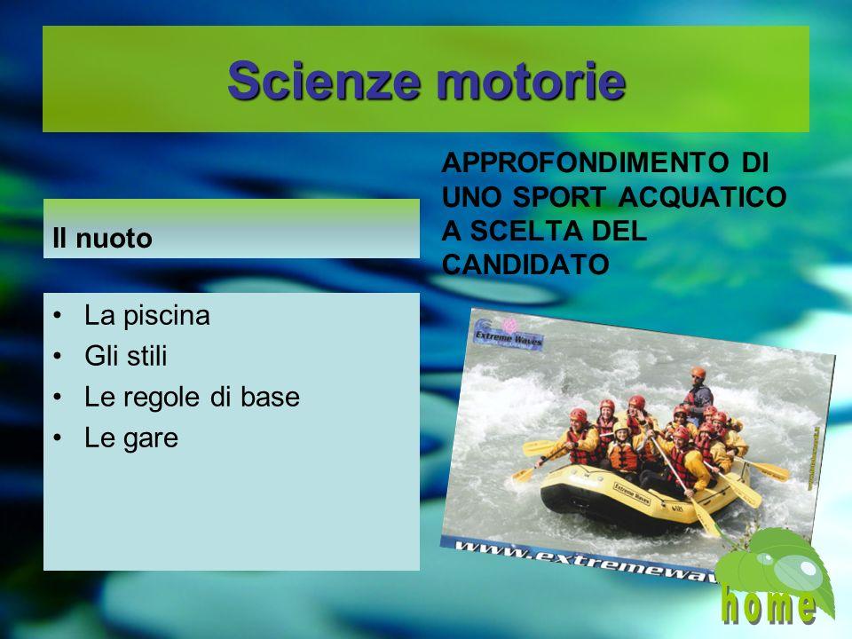 Scienze motorie Il nuoto. APPROFONDIMENTO DI UNO SPORT ACQUATICO A SCELTA DEL CANDIDATO. La piscina.