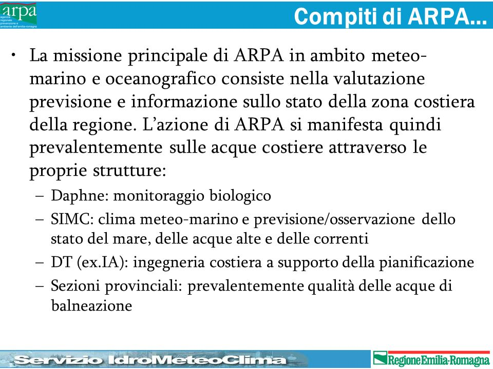 Compiti di ARPA…