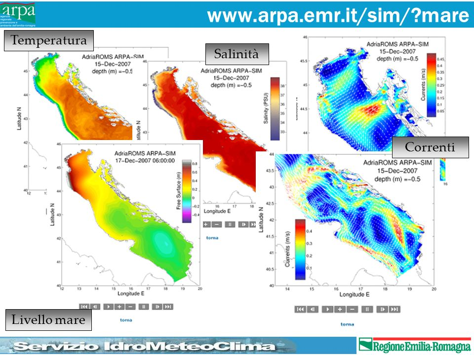 www.arpa.emr.it/sim/ mare Temperatura Salinità Correnti Livello mare