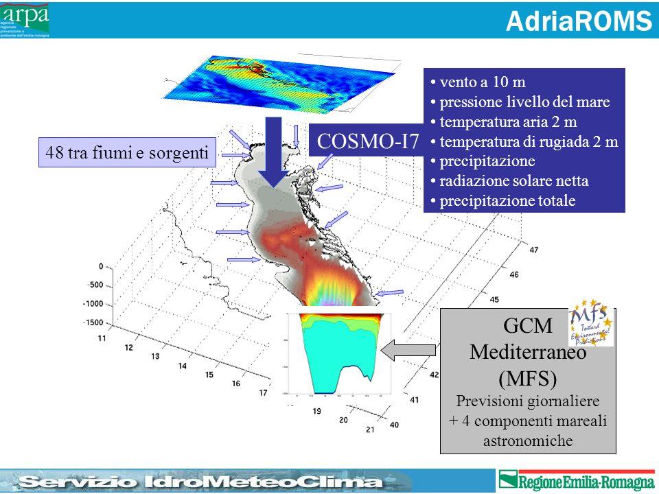 AdriaROMS COSMO-I7 GCM Mediterraneo (MFS) 48 tra fiumi e sorgenti