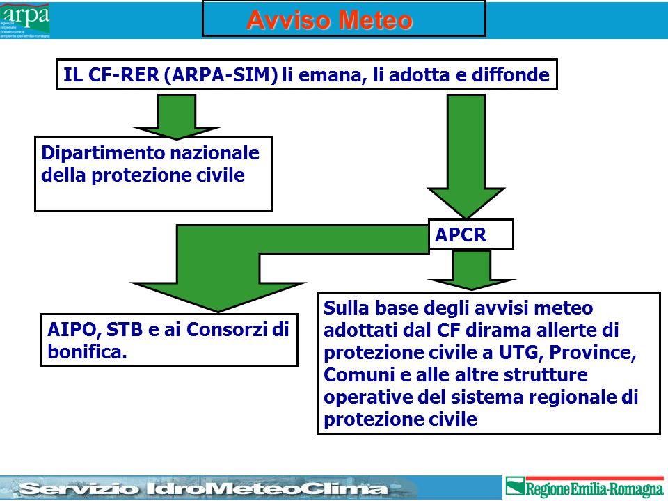 Avviso Meteo IL CF-RER (ARPA-SIM) li emana, li adotta e diffonde